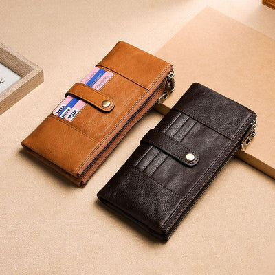 Men's Genuine Leather RFID Multi Card Slots Double Zippers Long Wallet
