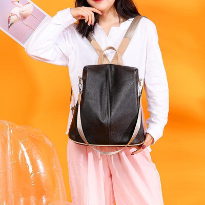 Women's Fashion Solid Waterproof Bags Anti-Theft Large Capacity Zipper Backpack
