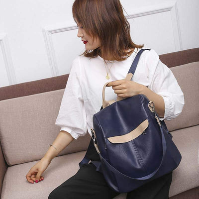Women's Vintage High Quality Waterproof Bags Large Capacity Anti-theft Zipper Backpack