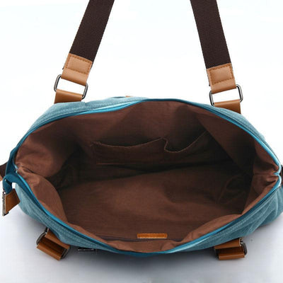 Women Daily Canvas Solid Durable Large Capacity Multi-pocket Zipper Handbags