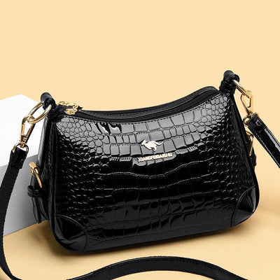 Women's Casual Crocodile Pattern Solid Waterproof Bags Large Capacity High Quality Zipper Handbags