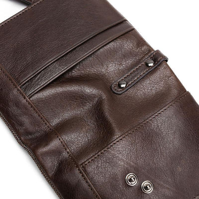 Men's Genuine Leather RFID Multi Card Slots Double Zippers Wallet