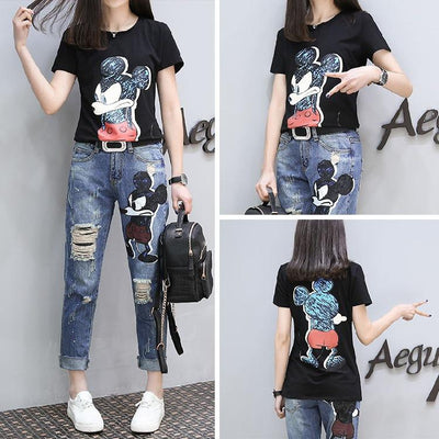 Mickey Shirt Jeans Clothing Set - Pants - ustreetstyle