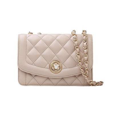 Mickey Classic Leather Diamond Crossbody Bag