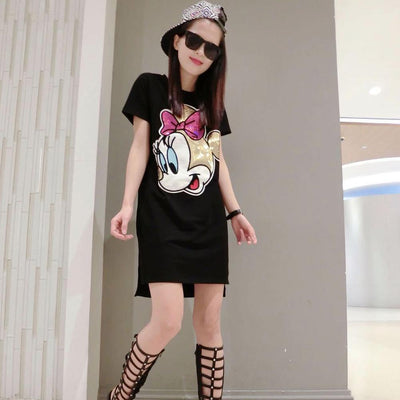 Women's Casual Mickey Mouse Printed Sequin T-Shirt Dress