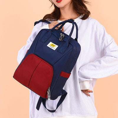 Women Fashion Waterproof Oxford Bags Contrast Color Large Capacity Multifunctional Zipper Backpack