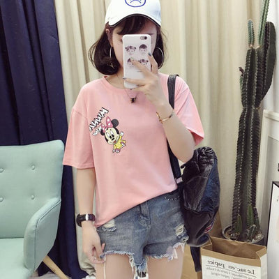 Cute minnie letter print t-shirt - Shirt - ustreetstyle