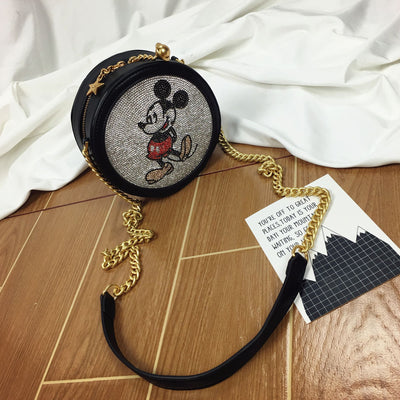 Mickey Mouse Leather Rhinestones Crossbody Bag