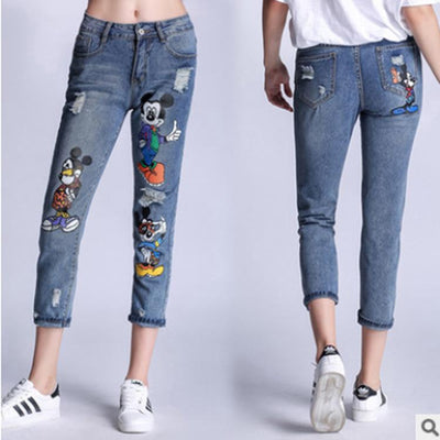 Mickey & Friends Patch Ripped Jeans - Pants - ustreetstyle