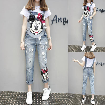 Fashion Minnie Mouse Cotton Overalls -  - ustreetstyle