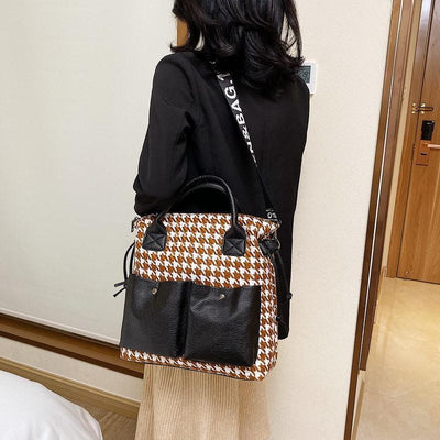Women's Casual Contrast Color Large Capacity High Quality Zipper Handbags