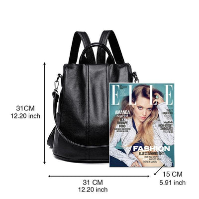 Women's Classic Solid Waterproof Bags Anti-theft Large Capacity Zipper Backpack
