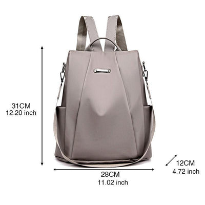 Women's Fashion Solid Waterproof Nylon Bags Multifunctional Anti-theft Zipper Backpack
