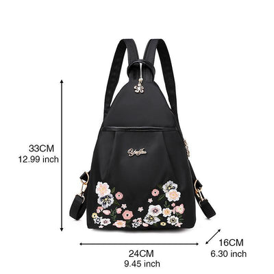 Women's Big Small Casual Pocket Print Waterproof Nylon Bags Multifunctional Anti-theft Zipper Backpack