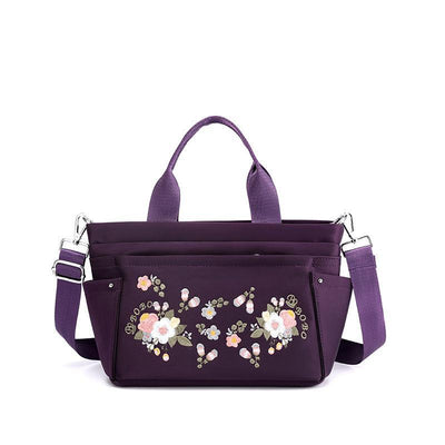 Women's Casual Embroidery Waterproof Nylon Bags Multi-pocket Zipper Handbags