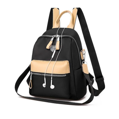 Women's Casual Color Matching Waterproof Nylon Bags Multifunctional Zipper Backpack