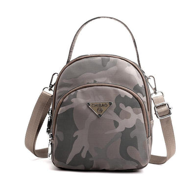 Women's Casual Camouflage Waterproof Nylon Bags Multifunctional Zipper Backpack