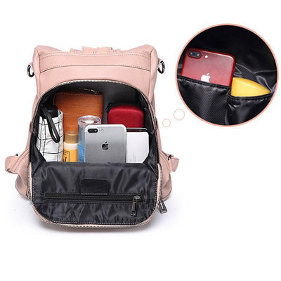 Retro Solid Anti-theft Large Capacity Zipper Backpack
