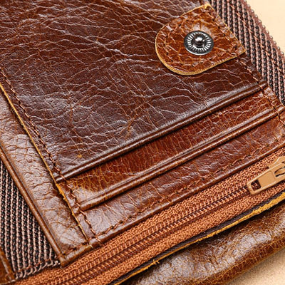 Men's Classic Genuine Leather RFID Multi Card Slots Double Zippers Short Wallet
