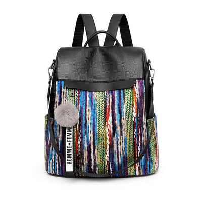 Contrast Color Anti-theft Backpack