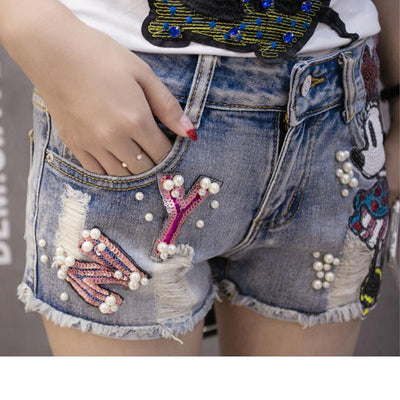 Mickey 100% Cotton Ripped Shorts - Pants - ustreetstyle