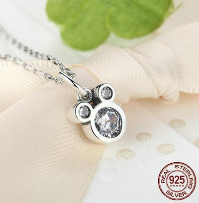 925 Sterling Silver Mickey Mouse Pendant Necklace - Necklace - ustreetstyle