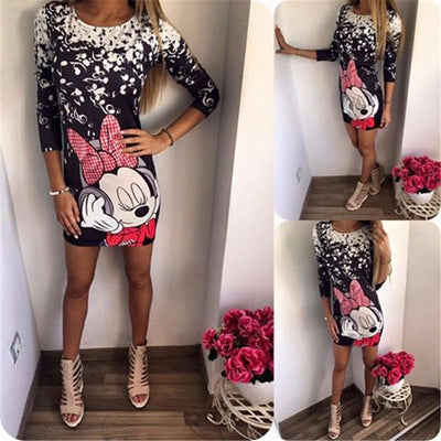 Cute Minnie Mouse Printed Half Sleeve Sheath Casual Dress -  - ustreetstyle