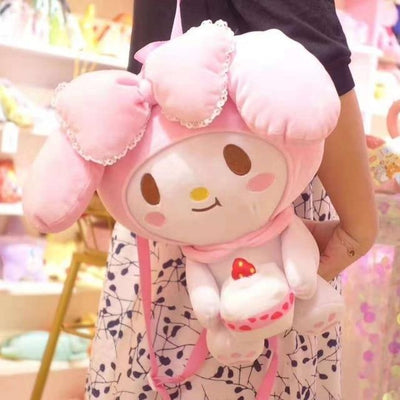Hello Kitty & Onegai My Melody Plush Backpack Soft Stuffed - Hello Kitty - ustreetstyle