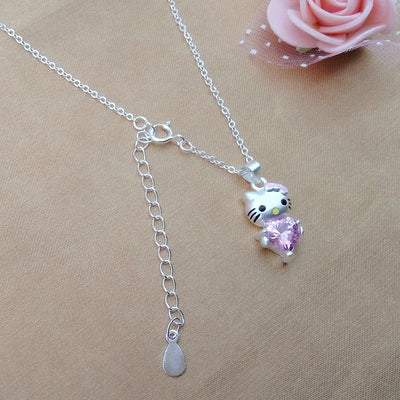 Hello Kitty Pendant Necklace with Heart - Hello Kitty - ustreetstyle