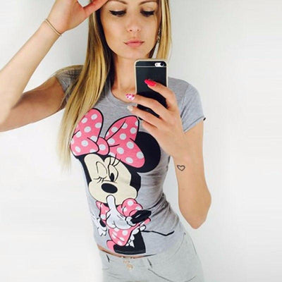 new fashion Mickey Mouseprinted round neck T-shirt - shirt - ustreetstyle