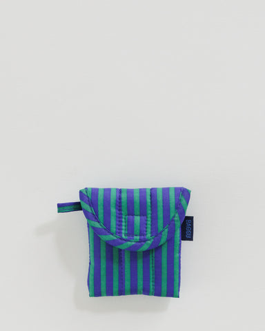 Puffy Earbuds Case - Cobalt and Jade Stripe