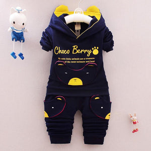 0-4 Designer Children boy Clothing Set 2017 Brand Spring Antumn Kids Boys Clothes Sets Cute Pig Coat + Pants Cotton 3 colors