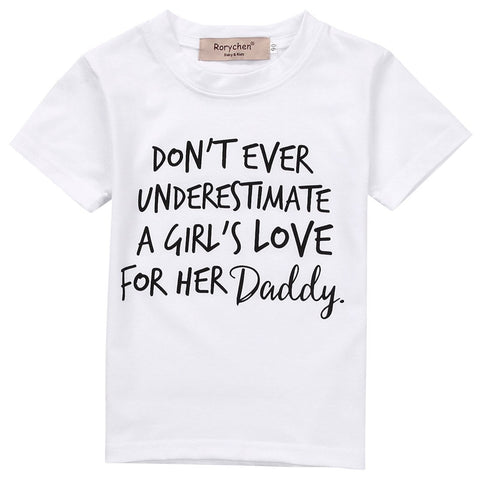 0-5Y Toddler Kids T-shirt Baby Girls Love Daddy Short Sleeve Casual TShirt Tops Casual Summer Blusa Top Shirt