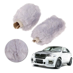 1 Set Car Decoration Accessory Winter Warm Car Gear Shift Cover and Soft Plush Handbrake Grips Cover White