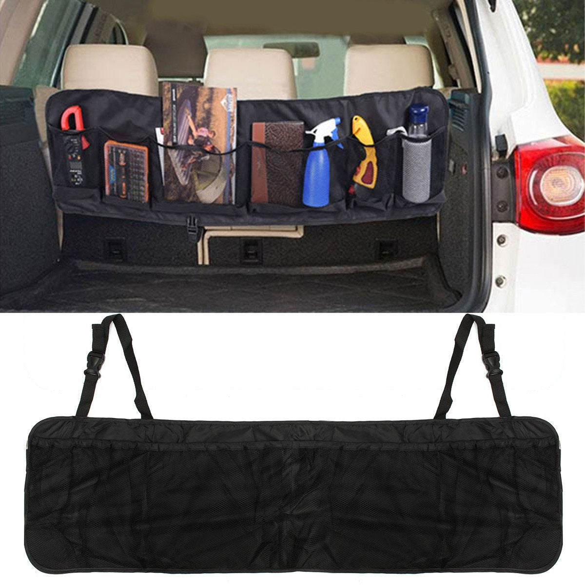 110 x 34cm Car Seat Back Tidy Organiser Multi-Pocket Auto Travel Hanging Storage Bag Holder Auto Accessories