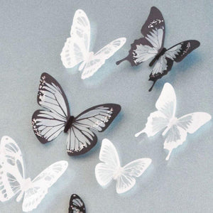 18pcs 3D Black White Butterfly Crystal Decor Wall Stickers Decor Wall DIY GM448