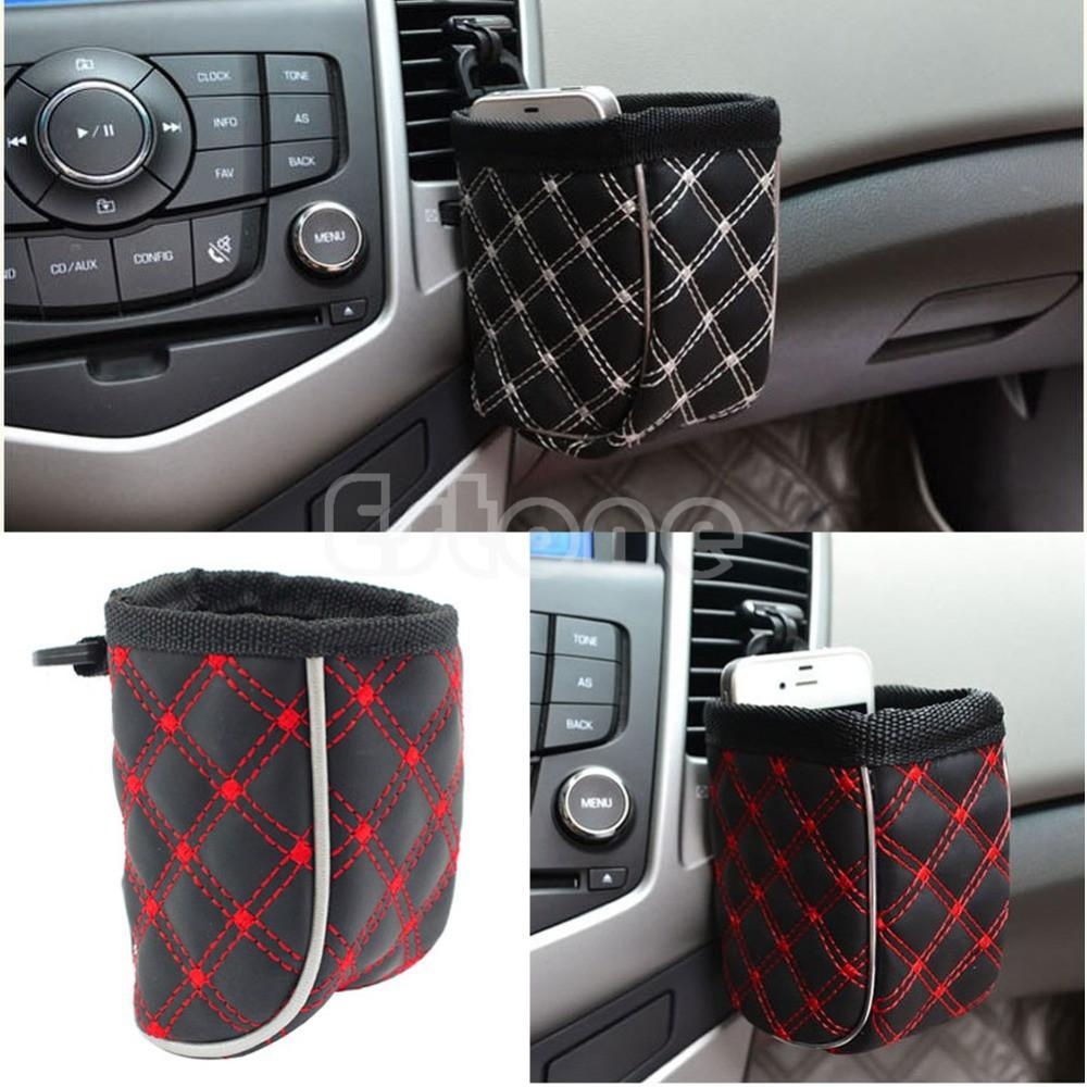 1PC Car Air Vent Mobile Phone Mesh Holder Pocket Debris Storage Organizer Pouch Bag