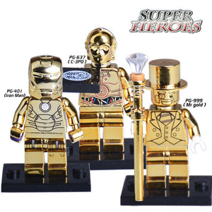 1PC Star Wars C3PO Iron Man Mr Gold Limited Edition Chrom Golden Minifigures Superheroes Building Blocks Bricks Kids DIY Toys
