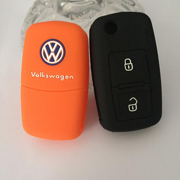 2 Buttons silicone Flip Key case cover protection for Volkswagen VW Amarok Polo Golf MK4 Bora Jetta Altea Alhambra