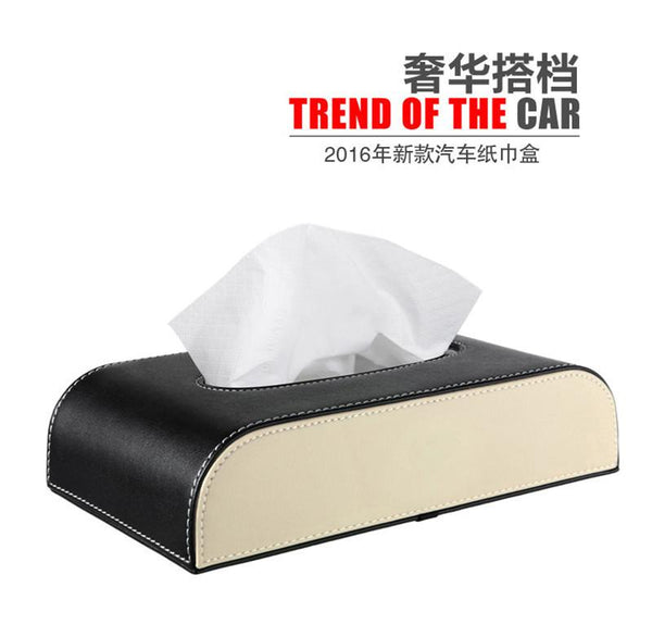 2016 Car Styling Tissue Box Home PU and Flocking Papers BAG Holder BOX Case Car Organizer Car Accessories Bag