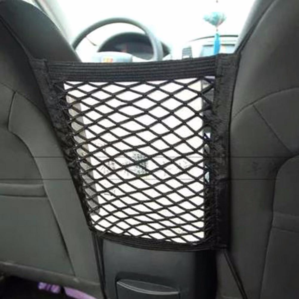 28x25cm Universal Car Seat Back Storage Mesh Net Bag Luggage Holder Pocket Sticker Trunk Organizer Strong Magic Tape Accessories