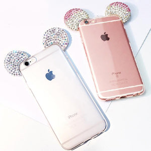 Rhinestone 3D Mickey Mouse Ears Cases For iPhone 6 6S 7 Plus SE 5 5S Soft Transparent TPU Back Cover Phone Shell