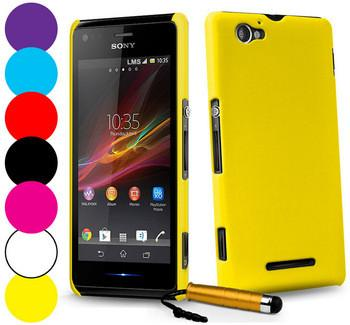 Luxury Rubber Matte Hard Case for Sony Xperia M C1905 C1904 Dual C2004 C2005 Protective Back Cover for Sony Xperia M + Stylus