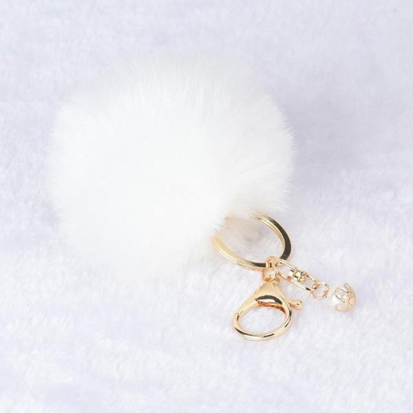 Rabbit Fur Ball Keychain Bag Plush Car Key Ring Car Key Pendant Nr1