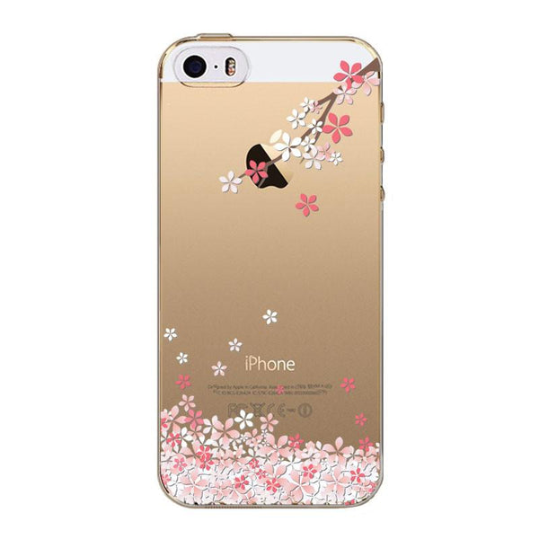 Phone Case For Iphone 5 5s Se Romantic Japan Sweet Cherry Blossom Painted Soft Tpu Silicon Clear Transparent Back Cover Bag Capa