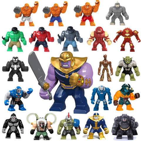 Single Kids Large Minifigures Marvel Superhero Avengers Thanos Hulk Venom Ironman Building Blocks Toys