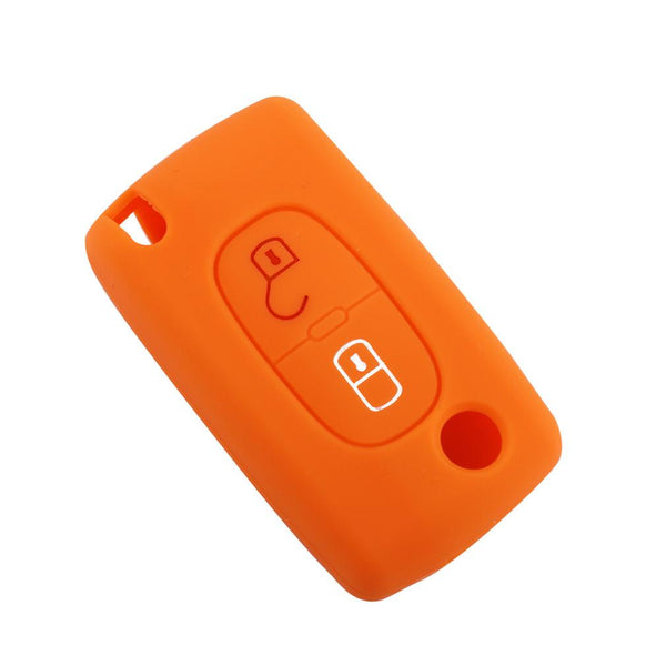 Silicone Car Key Case Remote Cover With Emblems For Peugeot 208 207 3008 308 Rcz 408 2008 407 307 2 Buttons Folding Key