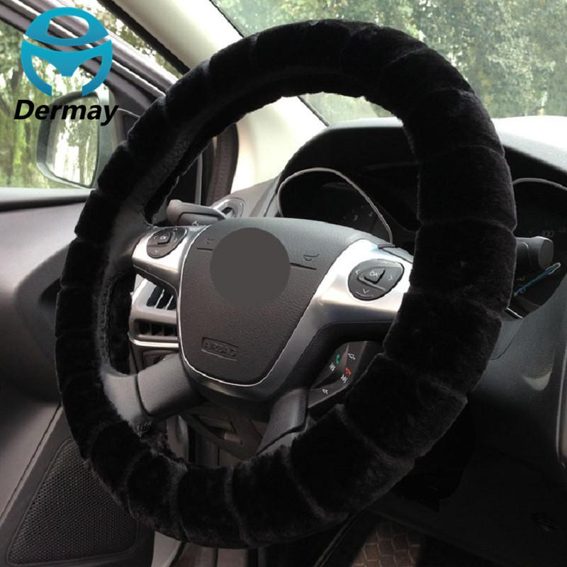 Winter Warm Imitation Fur Steering Wheel Cover For Car Steering Wheel 14-15 inch 38cm 95% Cars Non-slip
