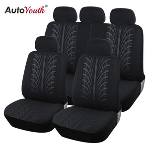 AUTOYOUTH Looped Fabric Full Car Seat Cover Universal Fit Most Brand Vehicles Seat Covers Black Car Seat Protector