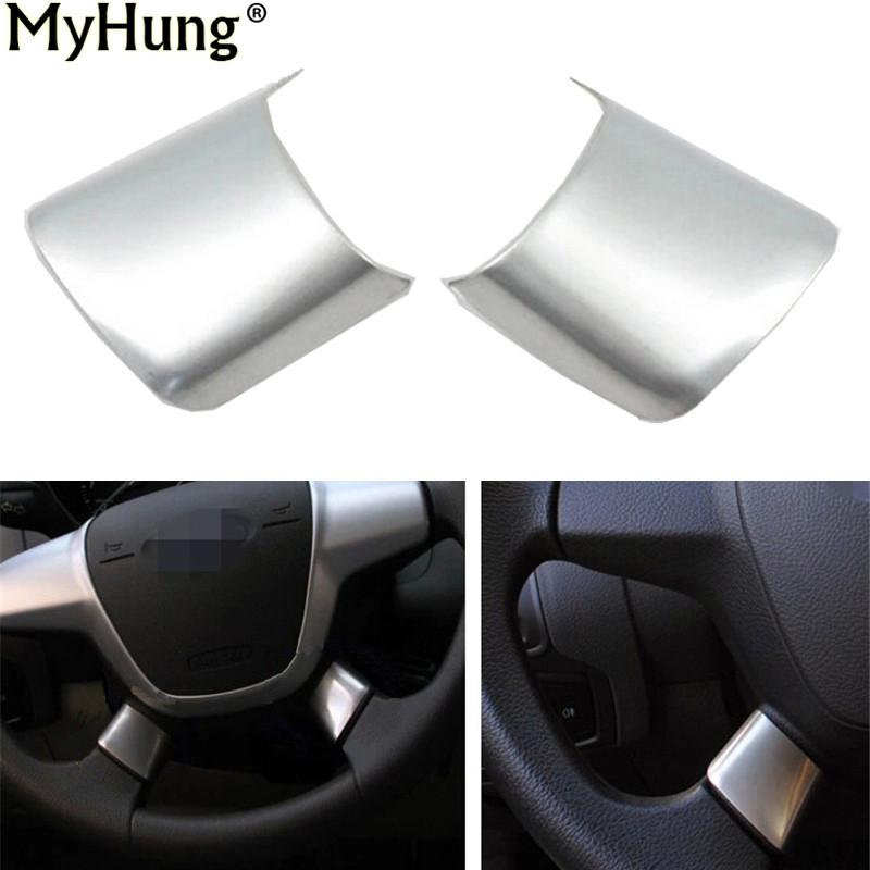 Car Accessories Steering Wheel Cover Paillette Cover Refires Sticker For Ford Escape Kuga 2013 2014 2015 Abs Chrome 2pcs